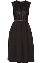 Raoul Madison Paneled Cotton Blend And Textured Crepe Dress Black
