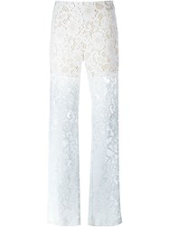Msgm Sheer Lace Trousers White
