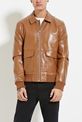 Forever 21 Faux Leather Jacket Brown