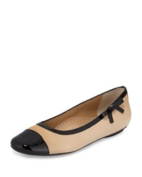 Neiman Marcus Shain Leather Cap Toe Bow Flat Pudding Bl
