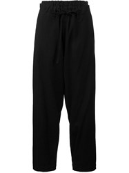 Y's High Waist Layered Trousers Black