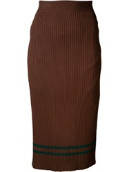 Muveil Knitted Pencil Skirt Brown