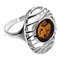 Goldmajor Amber And Sterling Silver Lattice Ring Amber