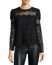 Romeo And Juliet Couture Long Sleeve Mesh Inset Lace Blouse Black