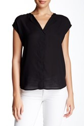 Daniel Rainn Cap Sleeve Hi Lo Blouse Black