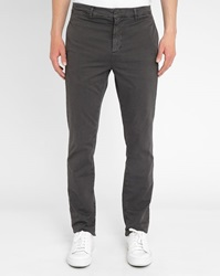 M.Studio Charcoal Dimitri Cotton Fitted Chinos