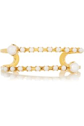 Erickson Beamon Pearly Queen Gold Plated Faux Pearl Cuff Metallic