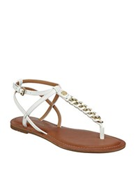 Tommy Hilfiger Lynne Braided Metal Chain Thong Sandals White