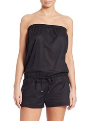 Michael Kors Solids Bandeau Romper Cover Up Black