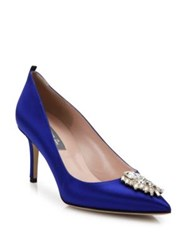 Sarah Jessica Parker Tempest Satin And Crystal Point Toe Pumps Blue