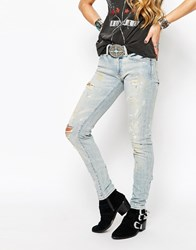 Denim And Supply Ralph Lauren Denim And Supply By Ralph Lauren Mid Rise Skinny Jeans With Paint Splashes Blue