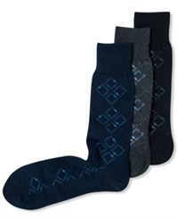 Perry Ellis Mercerized Exploded Argyle Dress Socks Black