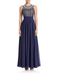 Js Collections Cage Top Chiffon Gown Navy