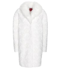Moncler Gamme Rouge Sofia Wool And Cashmere Blend Coat With Lace Applique And Fur White