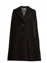 Miu Miu Notch Lapel Guipure Lace And Wool Cape Black