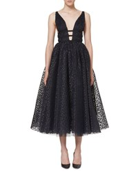 Carolina Herrera Sleeveless Dotted Tulle A Line Dress Navy