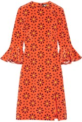 Holly Fulton Irina Printed Ruffle Trimmed Silk Crepe De Chine Dress Orange