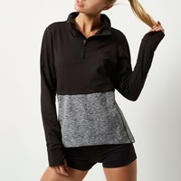 River Island Womens Ri Active Black Layered Block Sports Top