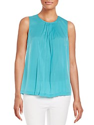French Connection Polly Plains Pleated Top Caloosa Blue