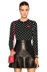 Comme Des Garcons Play Cotton Red Emblem Dot Tee In Black Geometric Print