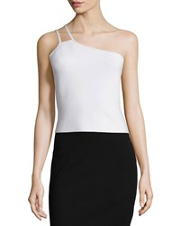 Halston One Shoulder Crop Top Linen White