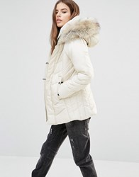 G Star Alaska Padded Coat With Faux Fur Hood White