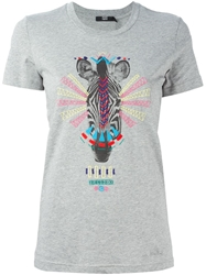 Markus Lupfer Embroidered Tribal Zebra T Shirt Grey