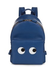 Anya Hindmarch Eyes Mini Leather Backpack Blue