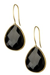Saachi 18K Gold Plated Faceted Black Onyx Drop Earrings