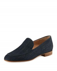Gianvito Rossi Marcel Denim Loafer Flat