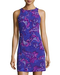 Ali Ro Paisley Print Shift Dress Amethyst Multicolor