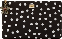 Dolce And Gabbana Black And White Polka Dot Zip Pouch