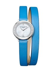 Baume And Mercier Petite Promesse 10288 Diamond Stainless Steel Wraparound Leather Strap Watch Blue