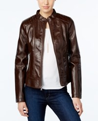 Guess Faux Leather Textured Bomber Jacket Brown