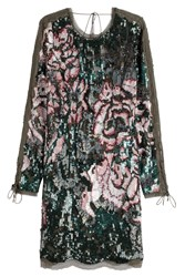 Roberto Cavalli Sequin And Bead Embellished Mini Dress With Silk Multicolor