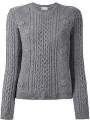 Red Valentino Cable Knit Sweater Grey