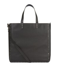 Valentino Reversible Grain Leather Tote Unisex Navy