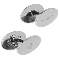 Mulberry Oval Silver Plated Reversible Cufflinks Silver