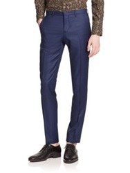 J. Lindeberg Wool Dress Pants Dark Blue