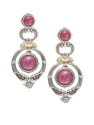 Konstantino Omorphia Ruby Quartz White Topaz 18K Gold And Sterling Silver Drop Earrings