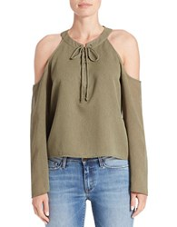Buffalo David Bitton Lace Up Cold Shoulder Top Burnt Olive