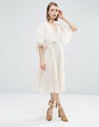 Asos Cape Ruffle Soft Midi Dress Mink Beige