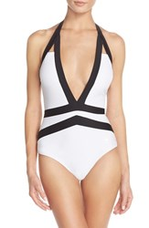 Women's Ted Baker London 'Ralinda' Banded One Piece Swimsuit White