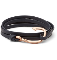 Miansai Leather And Rose Gold Tone Hook Wrap Bracelet Blue