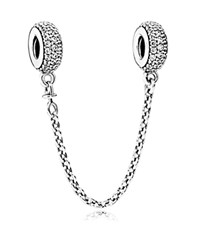 Pandora Design Safety Chain Sterling Silver And Cubic Zirconia Pave