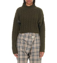 Anglomania Cable Knit Wool Blend Jumper Green
