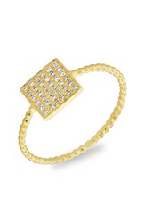 Women's Bony Levy Diamond Pave Square Ring Yellow Gold
