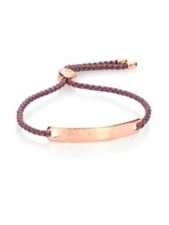Monica Vinader Havana Hammered 18K Rose Gold Vermeil And Pink Nylon Friendship Bracelet