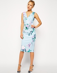 Asos Blue Floral Pencil Printed Bodycon Dress