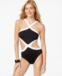 Kenneth Cole Colorblocked Monokini One Piece Swimsuit Women's Swimsuit Black